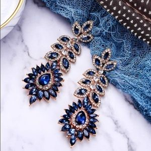 Sapphire Colored Chandelier Earrings